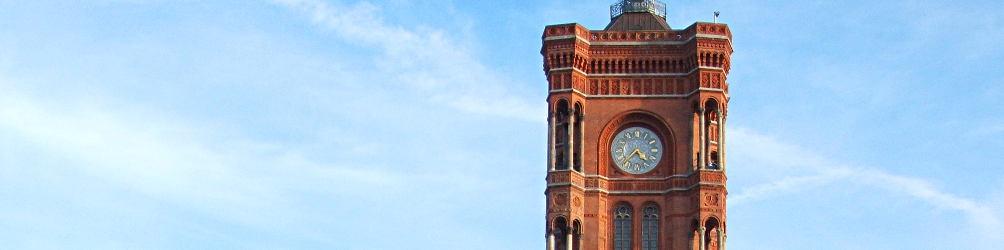 Turm des Roten Rathauses in Berlin. Foto: Lena Gronert